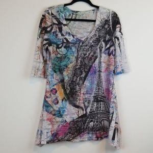 Fantazia Eiffel tower print distressed tunic top